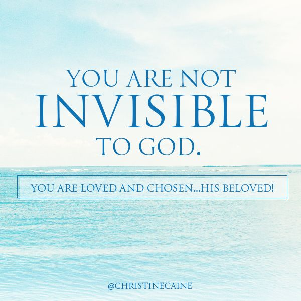Do you feel invisible? No matter how tired and unseen you may feel always remember that you are never invisible to God. There is hope.
